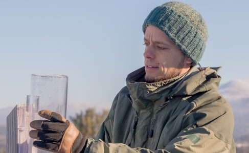 Dr. Jay Shafer takes a CoCoRaHS precipitation observation