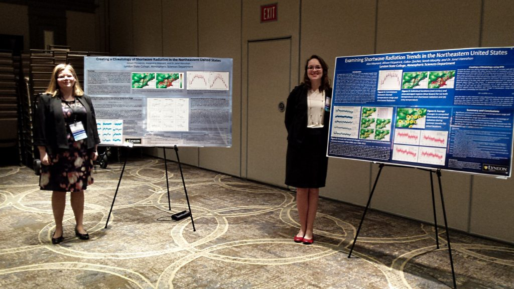 Allison Fitzpatrick and Alex Maynard present their research at the 2017 Northeastern Storm Conference
