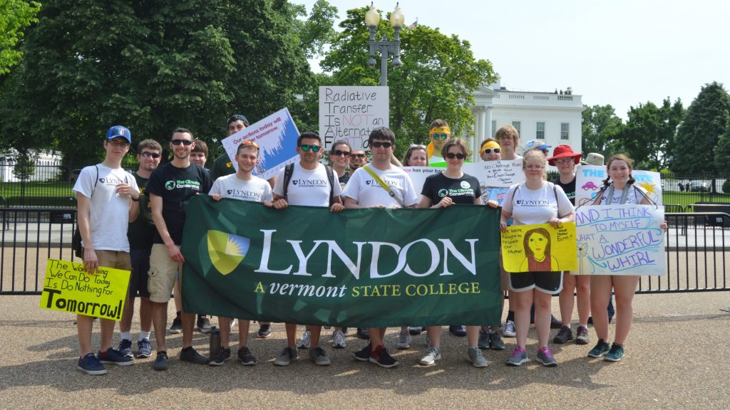 Atmospheric Science students at the People's Climate March in Washington, DC on April 29, 2017